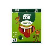LAPIS DE COR RESINA SEXTAVADO ECOLÓGICO Cx C/ 24 CORES 4222 LÉO&LÉO - Leo & Leo