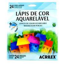 Lápis de Cor Sextavado Aquarelável 24 Cores 1 Pincel Acrilex -