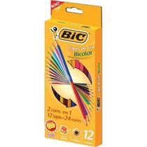 Lapis de cor (sextavado) Bic Bicolor 12 Lapis 24 Cores -