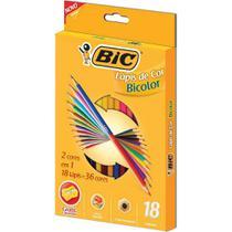 Lapis de cor (sextavado) Bic Bicolor 18 Lapis 36 Cores -