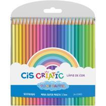 Lapis de COR Sextavado CIS Criatic TONS Pastel 24 Cores - Sertic