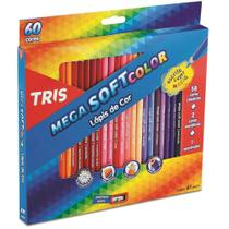 Lápis De Cor Triangular 60 Cores 1 Apontador Mega Soft Color Tris - Summit