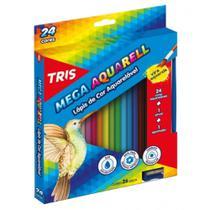 Lápis de Cor Triangular Aquarelável 24 Cores 1 Pincel Mega Aquarell Tris - Summit