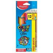 Lapis de Cor Triangular Color Peps Star 12 cores Gratis Lapis e Apontador Maped -
