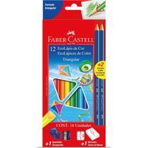Lapis De Cor Triangular Ecolapis Longo 12cores+2graf - Faber-Castell