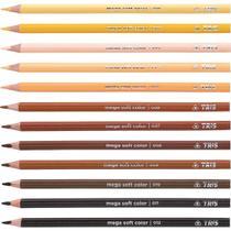 Lapis de cor triangular mega soft tons de pele 12 cores c/06 - Summit