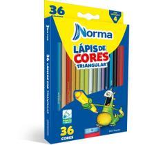 Lapis De Cor Triangular Norma 36 Cores C/apontador Waleu Estojo -