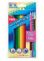 Lápis de cor tris 12 cores mega soft color + 3 lapis star -