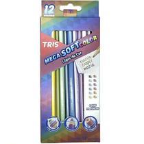 Lapis de cor tris 12 cores metalico -