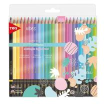 Lapis de cor tris 24 cores vibes tons pastel -