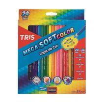 Lápis de cor Tris Mega soft Color  24 lapis Com 26 Cores + Apontador -