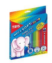 Lapis de Cor Tris Mega Soft Color Jumbo 12 Cores + Apontador - Summit