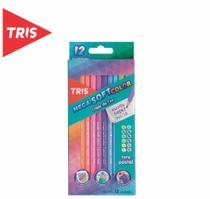 Lápis de Cor Tris Mega Soft Tons Pastel - 12 cores - Giotto