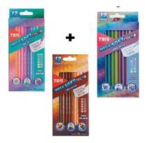Lápis De Cor Tris Pastel + Metálico + Tons De Pele -