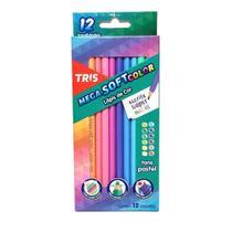Lápis de tris mega softcolor 12 cores tons pastel -