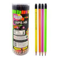 Lapis preto n.2 brw cores sortidas lisas neon redondo hb caixa com 72 lapis com borracha - brw -
