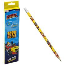 Lápis preto triangular com borracha mickey com 6 unidades- etipel -