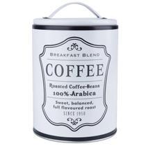 Lata Porta Café Pote Retrô Alumínio Branca Fosca 990ml - Nova