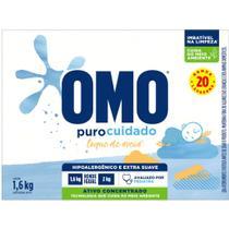 Lava Roupas Hipoalergico Em Pó Puro Cuidado OMO 1,600 KG -