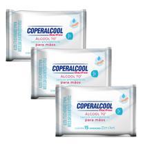 Lenço Antisséptico 70 Mãos Coperalcool c/ Hidratante - 3 un. -