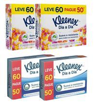 Lenço de Papel Kleenex Box Leve60 Pague50 com 4 Caixas -