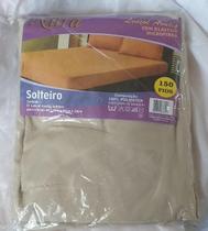 lençol avulso de solteiro com elástico em microfibra Bege marca nura -