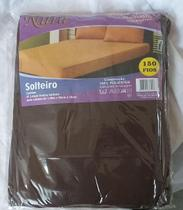 lençol avulso de solteiro com elástico em microfibra Marrom marca nura -