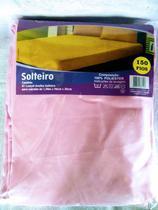 lençol avulso de solteiro com elástico em microfibra ROSA marca nura -