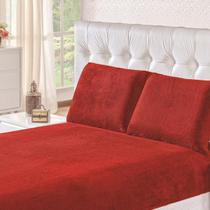 Lençol Casal Plush Inove Liso Vermelho Hedrons -