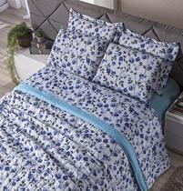 Lençol Solteiro e Fronha Estampados Classic 3 Peças - Floral Lazuli - Carinho Enxoval E Decoração