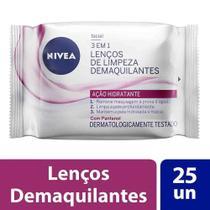 Lenços de limpeza demaquilantes nivea 3 em 1 ação hidratante 25 unidades -