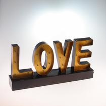 Letreiro Luminoso Love Decorativo C/ Leds Amarelo - Langfeng