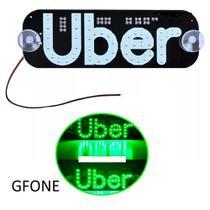 Letreiro placa led uber nao possuí conector para motorista de aplicativo cores verde - Gfone