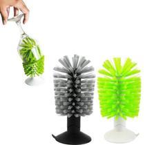 Limpa Copo Taças Escova Esponja Pia Fixação Ventosa Prático - Clink
