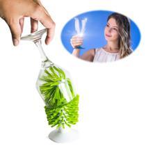 Limpa Copos e Taças Escova De Pia Verde Fixação Ventosa Silicone Indispensavel Cozinha - Kaza