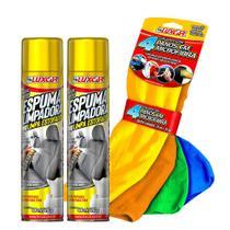 Limpa Estofados Spray 2 Unid. com  4 Panos Microfibra Luxcar -