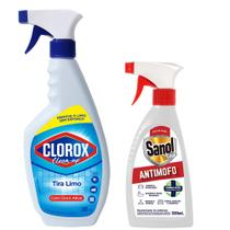 Limpa Mofo + Limpa Limo Sanol - Anti Mofo E Elimina Limo de Paredes, Rejuntes, Azulejos, Ambientes etc -