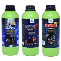 Limpa Motor + Ativado Limpa Bau + Pretinho Gel Concentrado - Maxbio