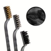limpador escova aço limpar grelha limpeza pesada 3 peças - 123Útil