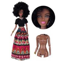 Linda Boneca Negra Morena Estilo Barbie Articulada 32cm Africana afrodescendente cabelo Black Power - Giftt