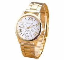 Lindo Relógio Feminino Dourado Luxo Casual Geneva Elegante -