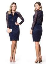 4547b20d9 Lindo Vestido Midi Moda Festa Evangélica Azul Marinho - Elegance