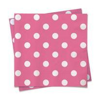 Linha Cores - Guardanapo Poá Pink Branco 25x25 - 20 Folhas - Cromus