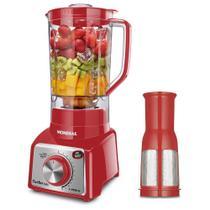 Liquidificador Mondial L-1000 RI Turbo Premium - Copo 3L - Com Filtro - 12 Velocidades - 1000W - Vermelho e Inox -