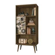 Livreiro mdf chaplin nogal acetinado, estante para livros, edn móveis -