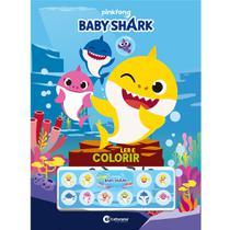 Livro - BABY SHARK LER E COLORIR COM ADESIVOS -