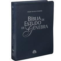 Livro - Bíblia de Estudo de Genebra - Couro bonded Azul -