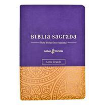 Livro - Bíblia NVI, Couro Soft, Roxo e Amarelo, Letra Grande, Com Espaço para Anotações, Leitura Perfeita -