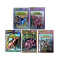 Livro Dinossauro + Miniatura 20 Cm Articulada 5 Unidades - Bom bom editora -