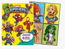 Livro super hero para colorir com atividades educativas 48 pgs e 4 quebra-cabeças -